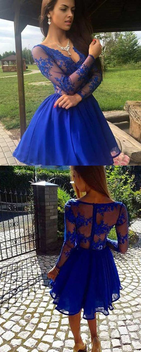 long sleeves lace prom dresses short,short royal blue homecoming dresses with