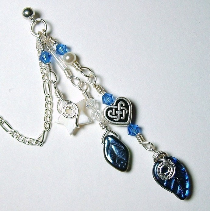 Celtic Blue Fairy Bajoran Chain Ear Cuff