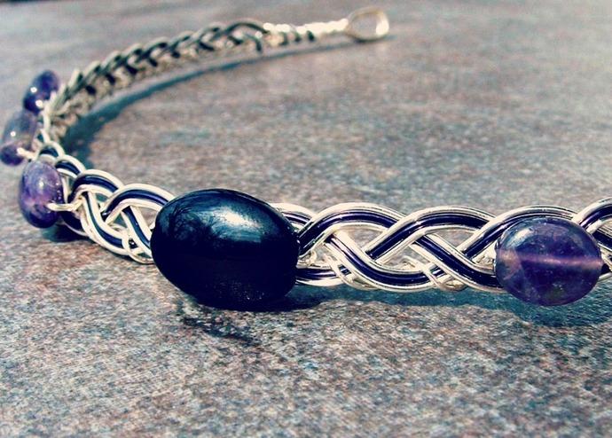 Onyx Amethyst Dragonrider Celtic Circlet, The Moretta