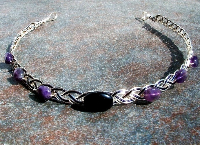 Onyx Amethyst Dragonrider Celtic Circlet, The Moretta