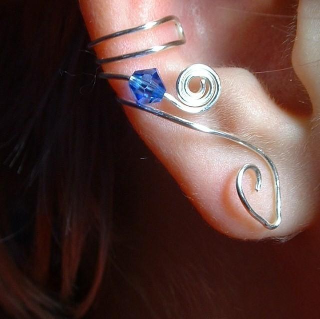 Ear Cuff Saltire Blue Sapphire Swarovski Crystal