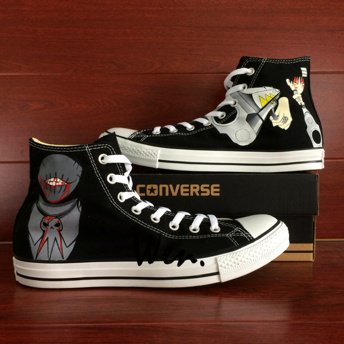 Cartoon Anime Soul Eater Design Hand Painted Shoes Black Canvas High Top