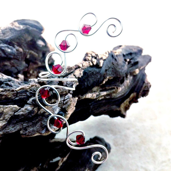 Ruby Red Crystal Ear Cuff Ear Climber. No Piercing Required