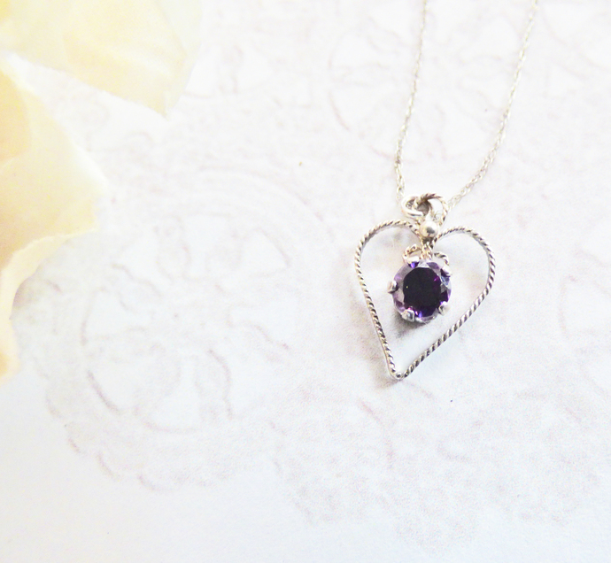 Black CZ Sterling Silver Heart Pendant Necklace