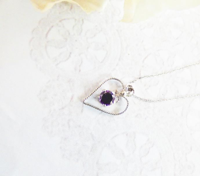 Black CZ Sterling Silver Heart Pendant Necklace