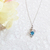Aquamarine CZ Sterling Silver Heart Pendant Necklace