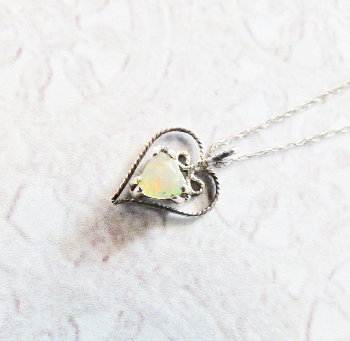 Opal Sterling Silver Heart Pendant Necklace