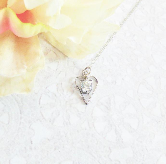 Diamond CZ Sterling Silver Heart Pendant Necklace