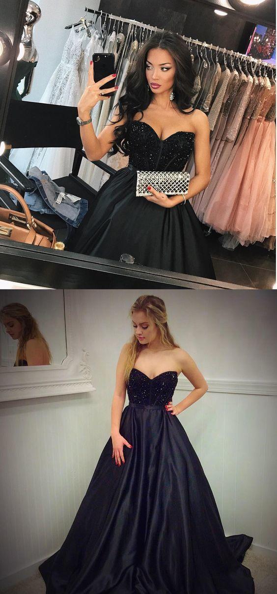 Glamorous A Line Sweetheart Beaded Long Black Satin Prom/Evening Dress,long prom