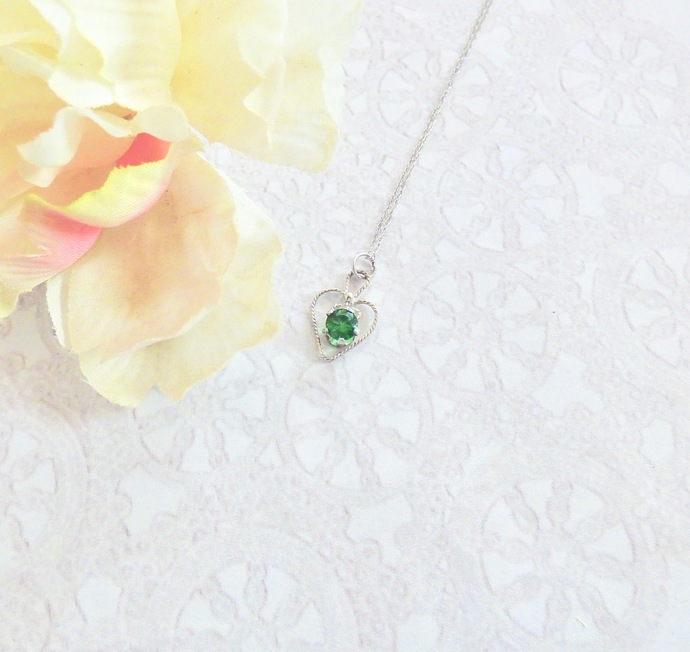 Emerald CZ Sterling Silver Heart Pendant Necklace