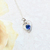 Sapphire CZ Sterling Silver Heart Pendant Necklace