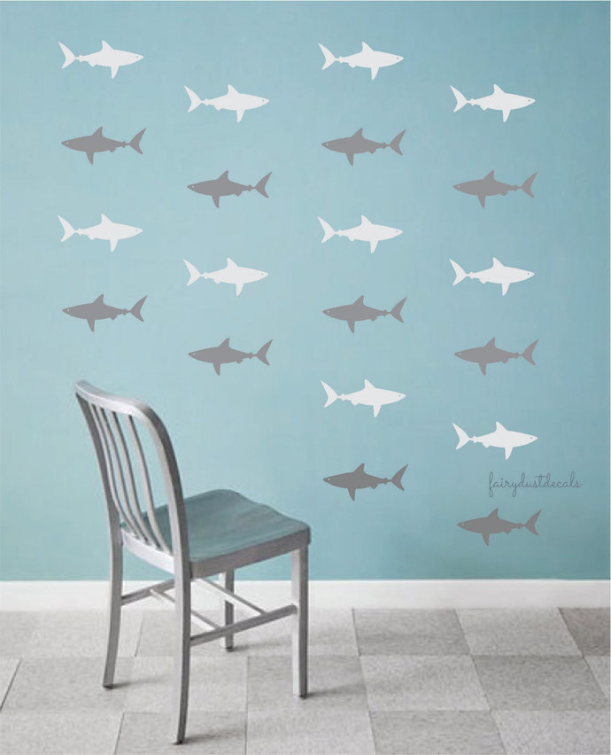 Shark Wall Decals, Set Of 30 Vinyl Shark Stickers