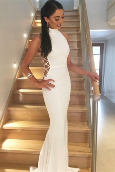 White Mermaid High Neck Lace-Up Sweep Train Prom Dress, Long Prom Dress,820128