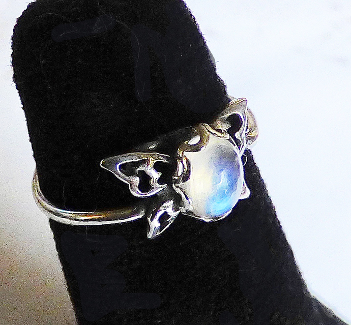 Moonstone Butterfly Sterling Silver Ring