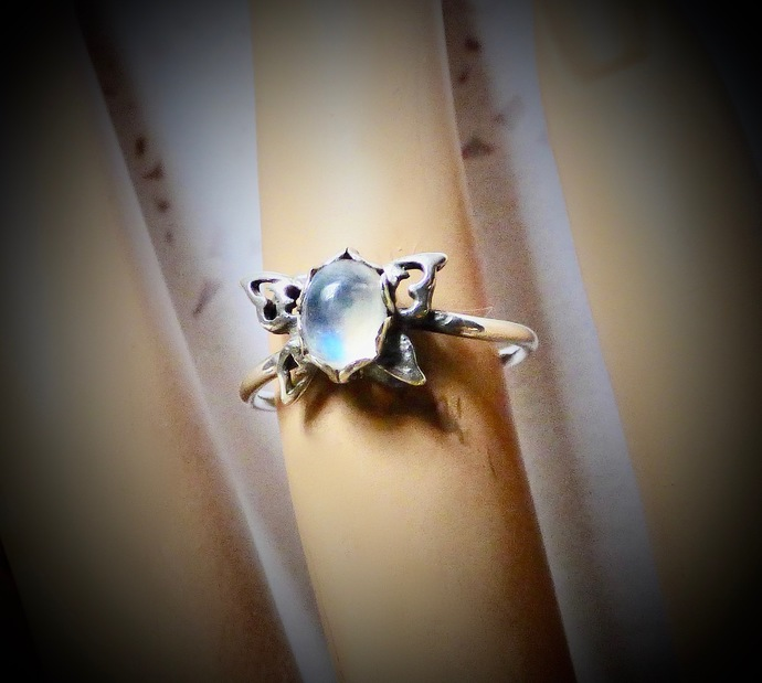 Moonstone Butterfly Ring