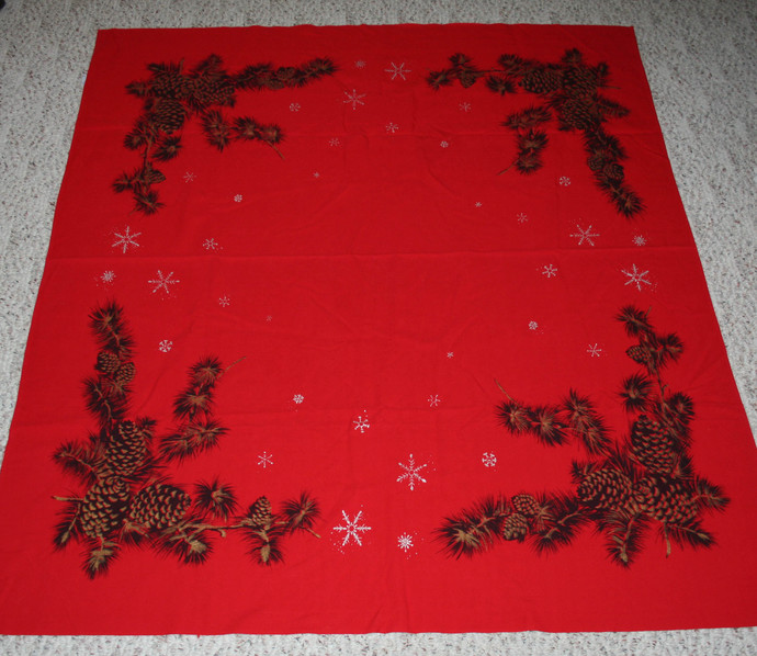 Vintage California Hand Prints Red Christmas Tablecloth Pinecones Gold Silver