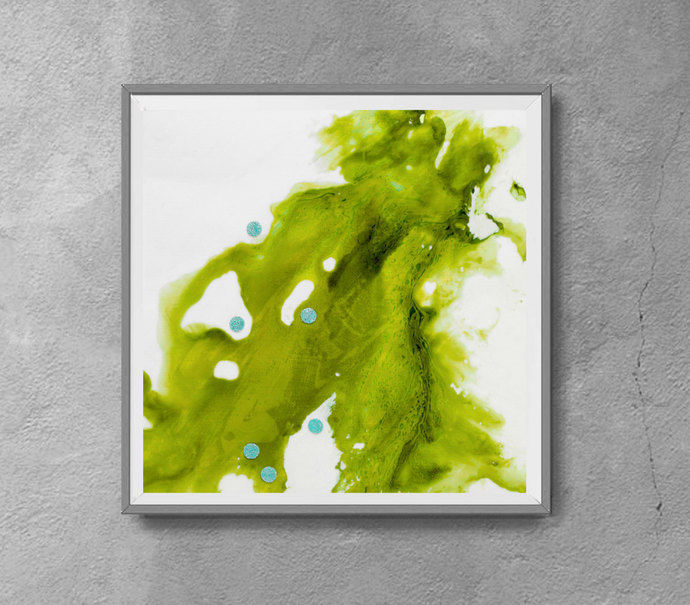 Printable abstract,green and white,contemdorary art, modern art ,INSTANT