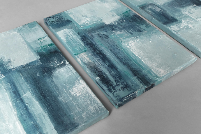 set of 3 abstracts, teal abstract, original painting, Wall Art, Modern Art