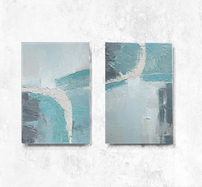 Contemporary Wall Art Modern Art Pastel Colours Ivory Gray And Sky Blue Cambridge Blue Set Of 2 Oil Painting Canvas Art