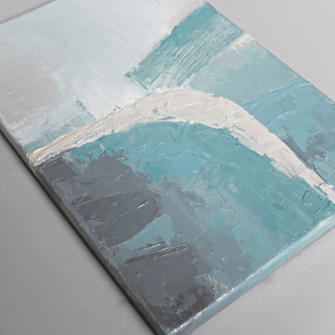 Contemporary Wall Art, Modern Art, pastel colours, ivory, gray and sky- blue ,