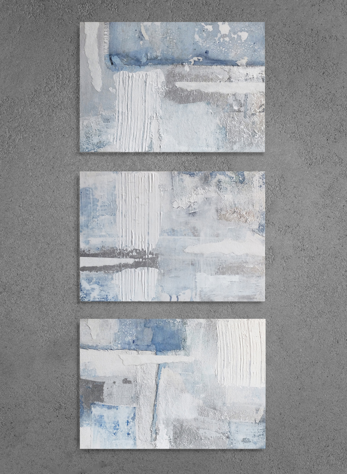 set of 3, small abstract,Scandinavian style art, textured, white and silver