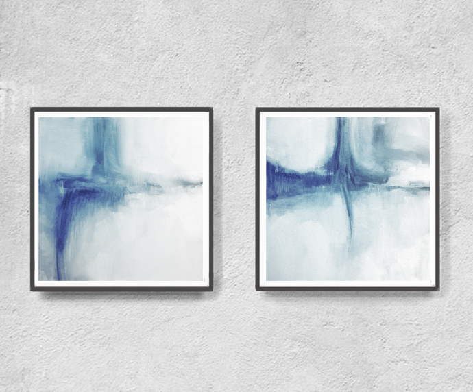 Abstract Art Print Set, Printable Art, Minimalist, Coastal Colors, Scandinavian