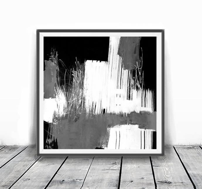 Abstract Watercolor Art Print, Printable Art Brush Strokes Black and White,