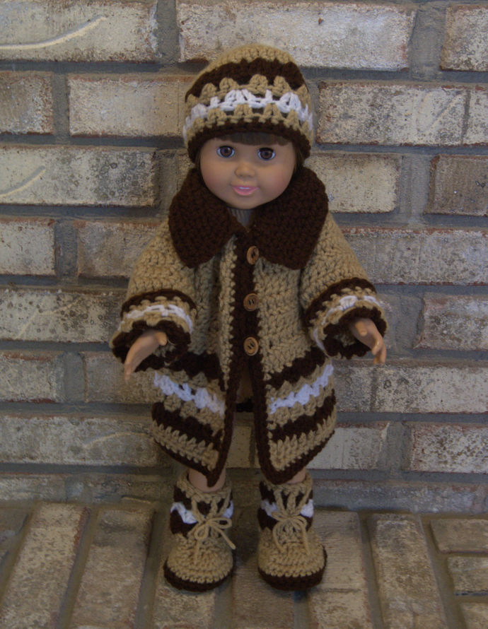 Coat Ensemble For American Girl/18 Inch Doll Coat Set/Crochet Doll Outerwear