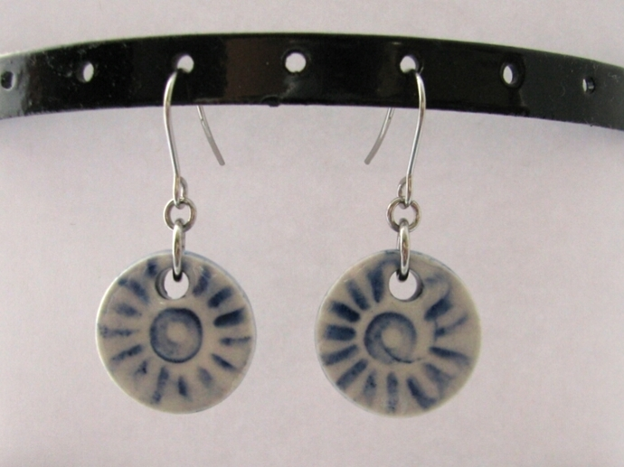 Blue Pattern Ceramic Earrings
