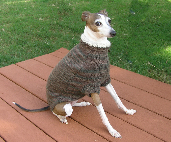 READY TO SHIP - Brown Hand Knit Dog Sweater