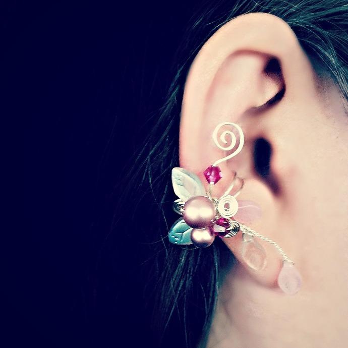 Pink Elven Ear Cuff Climber No Piercing, Fantasy Boho Ear Vine