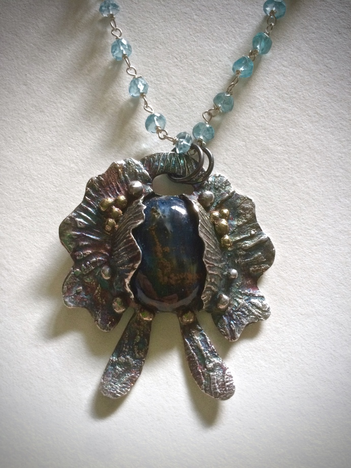 Pietersite necklace, butterfly jewelry, flower pendant, bohemian jewelry, scarab