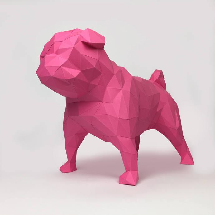 Pug Dog Papercraft, Paper Pug, Dog Statue, Puppy Pug, Paper Animals, Papertoy,