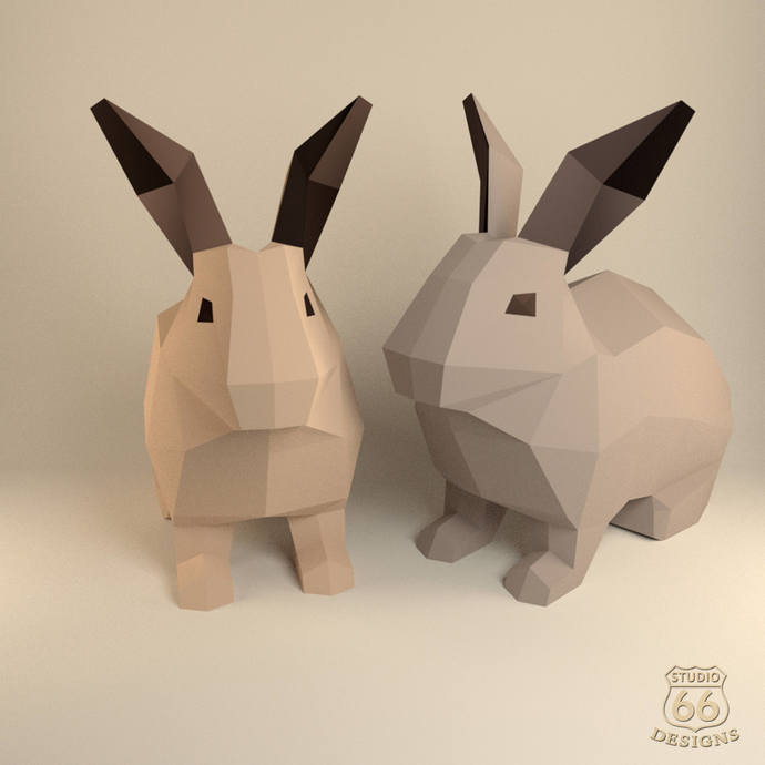 Rabbit Sculpture Papercraft Rabbit Paper By Studio66designs On