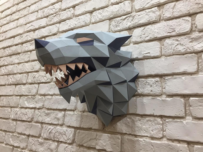 Game of Thrones, Winter is coming, Paper Wolf, Direwolf, Wolf Head, Papercraft