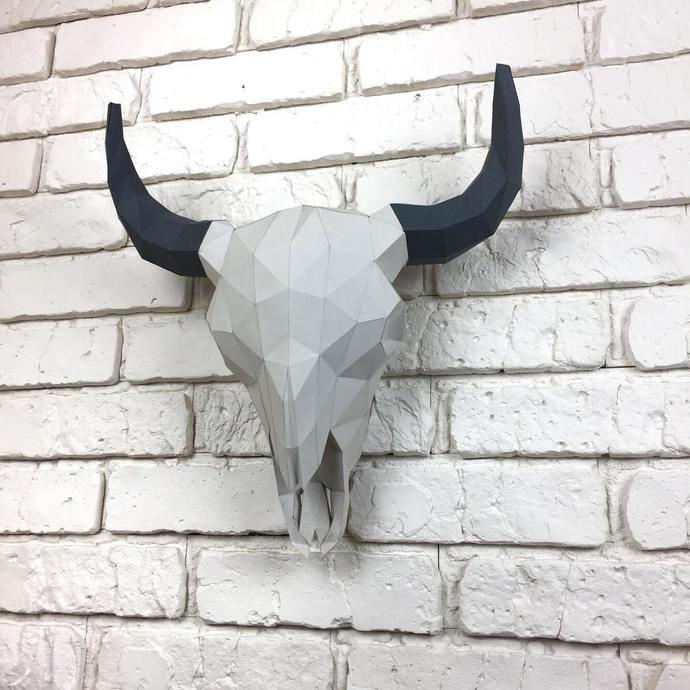 Bison Skull, Paper Sculpture, Papercraft Skull, Papercraft Bison, Animal Trophy,
