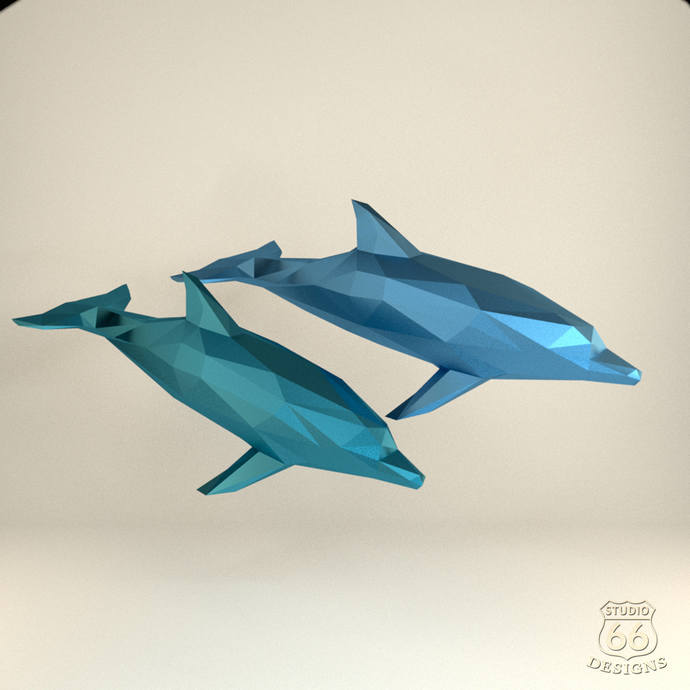 Dolphin Papercraft XL Paper Origami Blue Whale