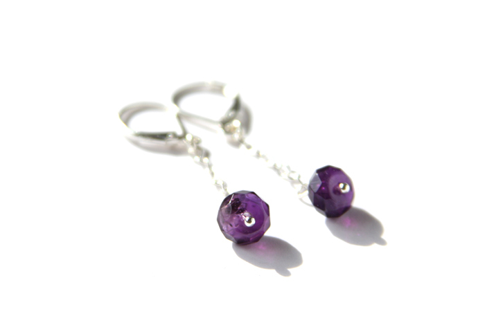 Amethyst Sterling Earrings Sterling Silver Leverback Dark Purple Natural