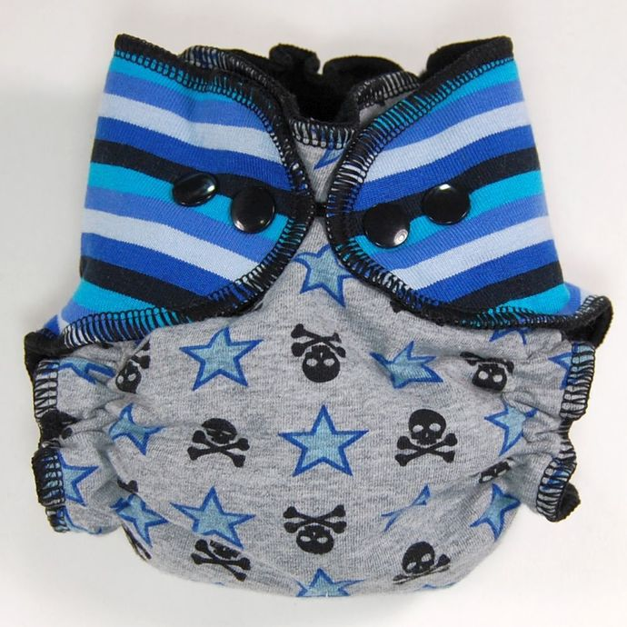 Size Big Newborn (8-18 lbs) Hidden-PUL - Stripes, Jolly Rogers, and Stars