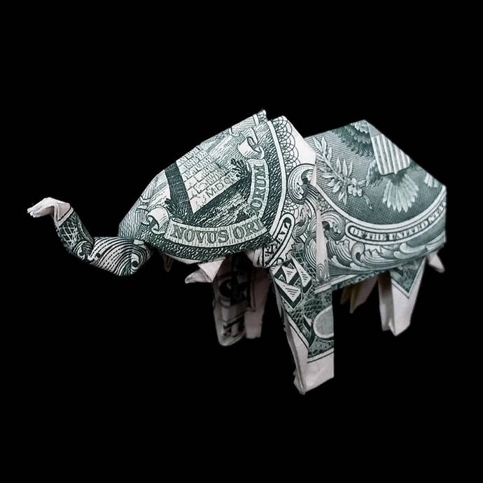 Origami Sculpture ELEPHANT 3D Gift Money Figurine Real One Dollar Bill