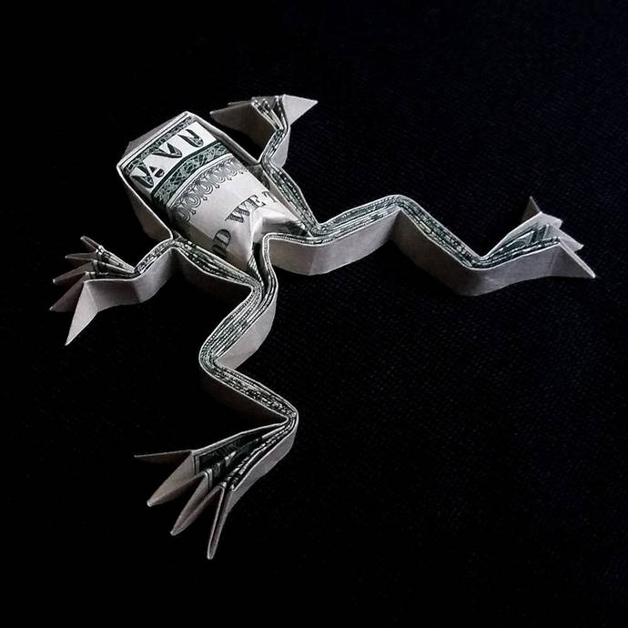 Origami Sculpture Frog 3d Art Gift Money By Trinket2shop On Zibbet