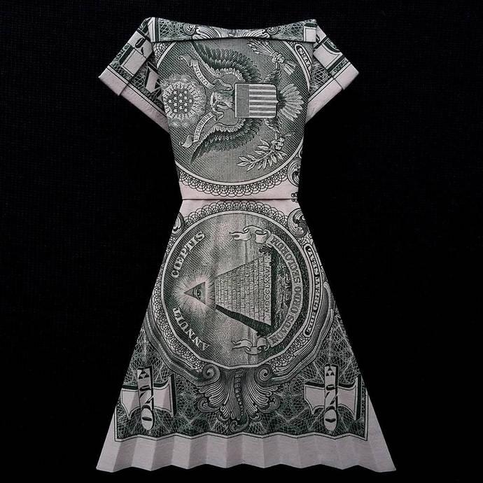 Origami Women Long Dress Money Art Gift By Trinket2shop On Zibbet