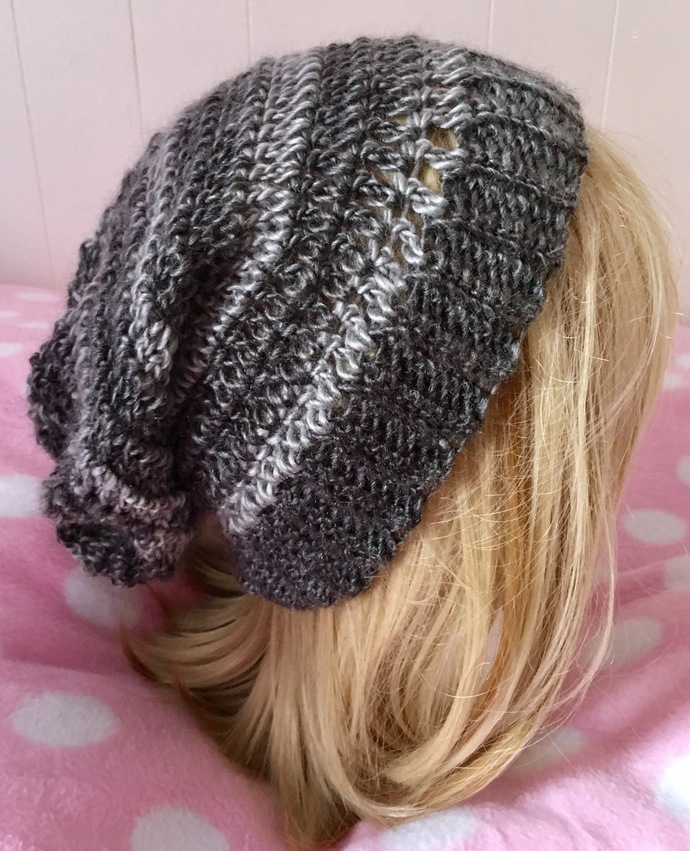 READY TO SHIP Crochet Smoky Grey Black Lightweight Slouchy Hat - Women's / Teens