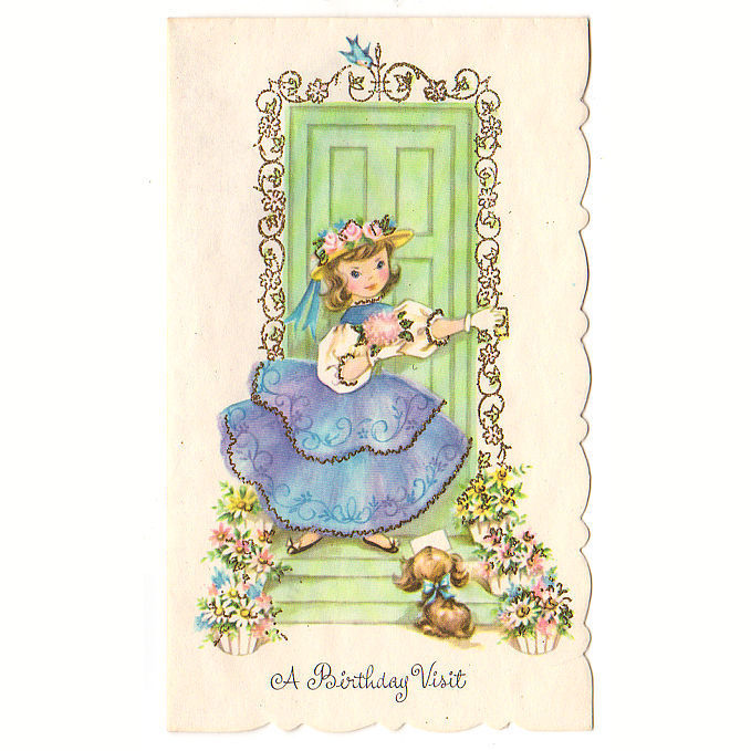 Vintage Birthday Card UNUSED 1950s Girl in Dress at Door Puppy