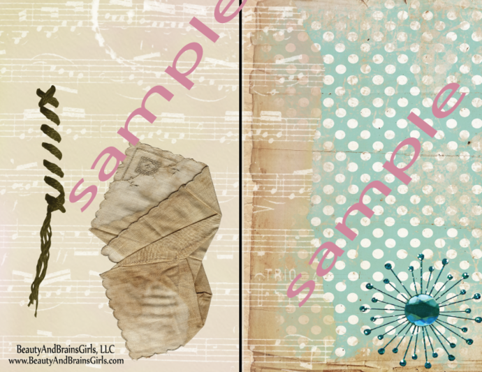3 Folded POCKETS Printable of  VARIOUS SIZES-Pocket- Journaling Card- Junk