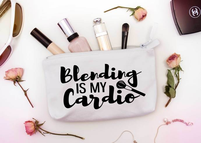 Blending Is My Cardio Custom Makeup Pouch One Of A Kind Cosmetic Bags