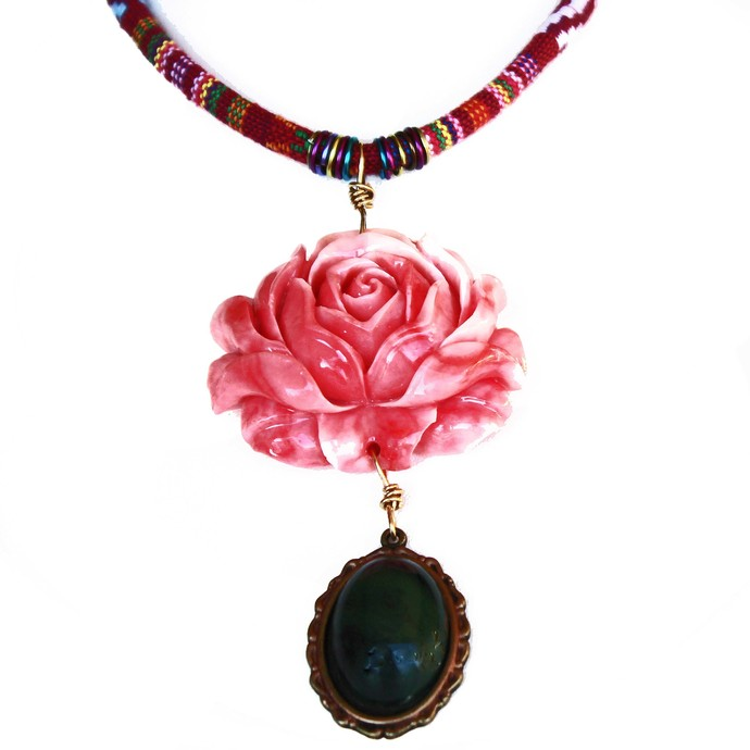 Long Beaded Necklace on a Red Patterned Greek Fabric Cord, Pink Flower Pendant