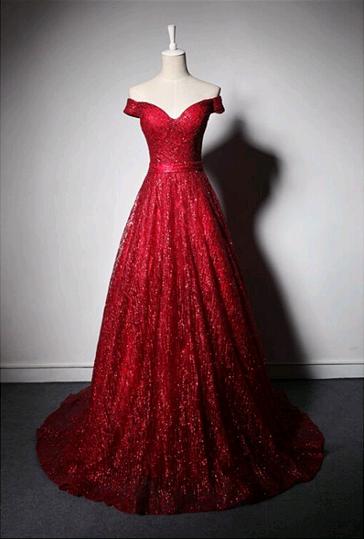 a86b2de542b9 Off The Shoulder A-Line Prom Dresses