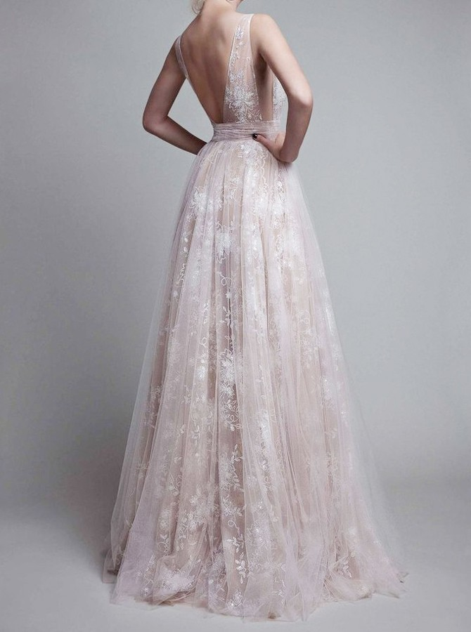 Hot Evening Dress A-Line Deep V-Neck Long Backless Champagne Tulle Prom Dress