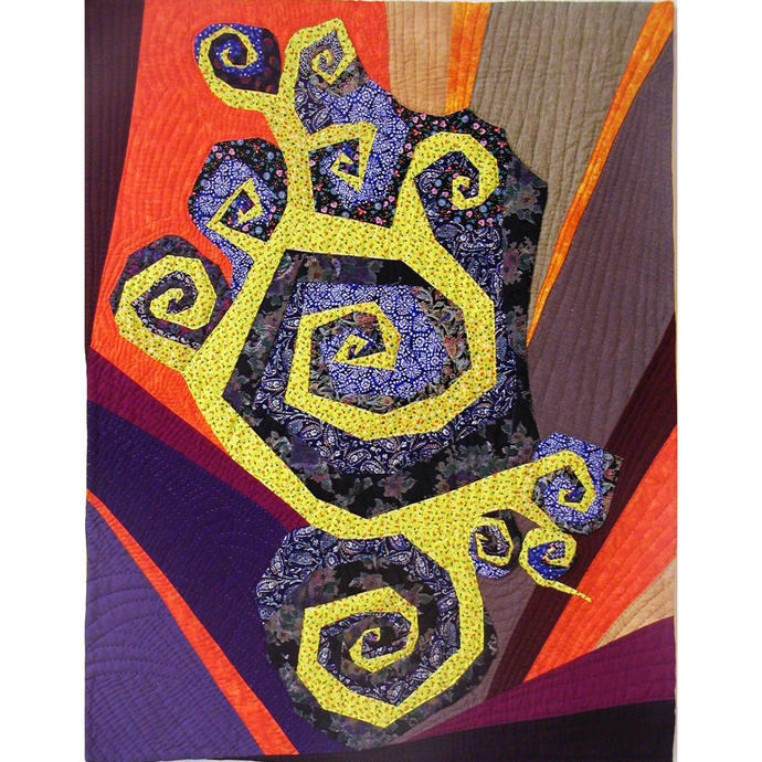"Dance of the Spirals art quilt 35""x45"""